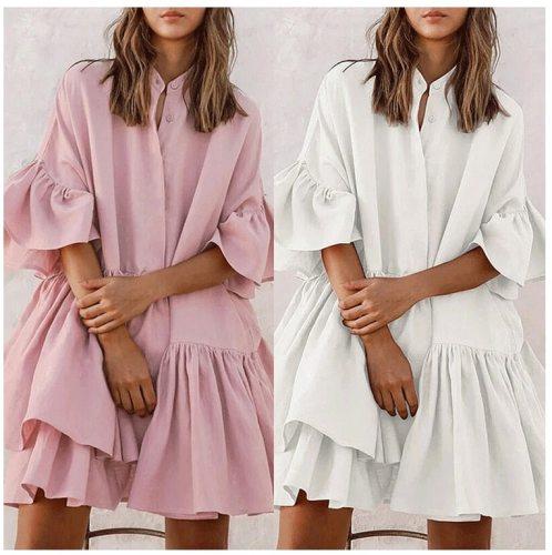 Women Ruffles Mini Dress Plus Size Sexy O-neck Half Sleeve Casual Loose Shirt Dress summer Solid Pleated Vestidos