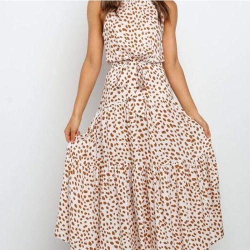 Summer Elegant Sexy Long Dress Women 2020 Fashion Print Flowers Polka-dot Strap Ladies Halter Boho Dress Cotton Vestidos Clothes