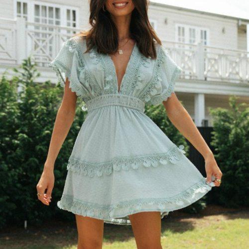 Women's Backless Lace Up Boho Dress Summer Casual Beach Dress Ruffle A-line Dress Mini Vestidos Party Clothes Holiday Dress