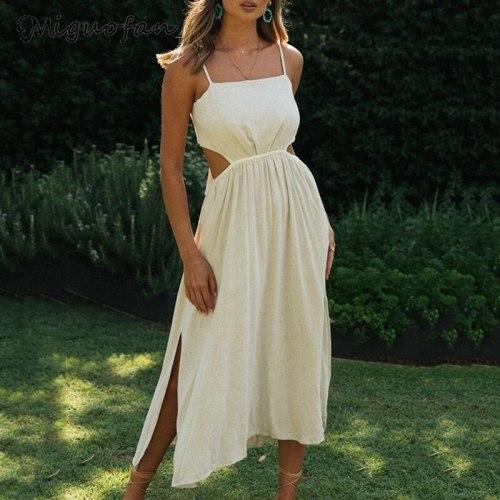 Long Dresses Women Cut-Out Solid Beige Ladies Summer Beach Vestidos Oversized Plus Maxi Slip Sexy Dress Female 2021 New