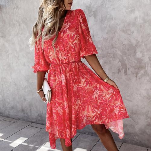 Sexy V-neck Split Floral Print Shirt Dresses 2021 Casual Long Sleeve Boho Summer Beach Dress Women Lace-Up Maxi Dress Vestidos