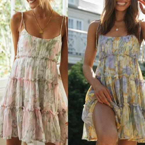 2021 Floral Print Boho Sundress Women Ruffle Summer Dress Casual Beach Short Dress Flower Vintage Dress Women Fashion Clothes