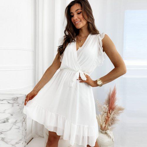 Elegant Ladies Summer Sleeveless Fashion Party Mini Dress Deep V Neck Ruffl Belt Slim Office Dresses For Woman 2021 Robe Femme