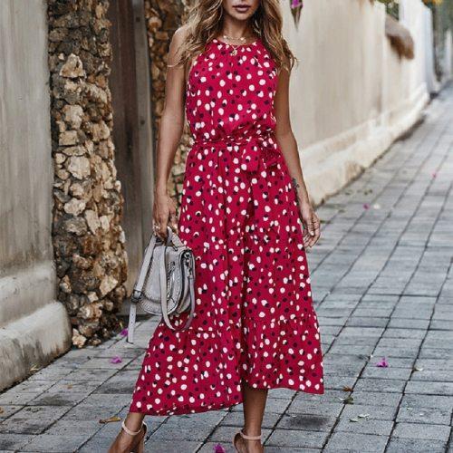 Summer Polka-Dot Dress Women Beach Dresses Bow Strapless Casual White Midi Sundress 2020 Red Vacation Long Dress For Women