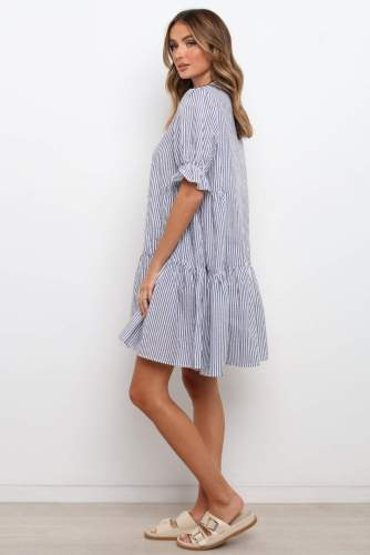 Casual Loose Patchwork Mini Shirt Dress For Women 2021 Summer New Striped Print Single-Breasted Short-Sleeved Dress Robes Femme