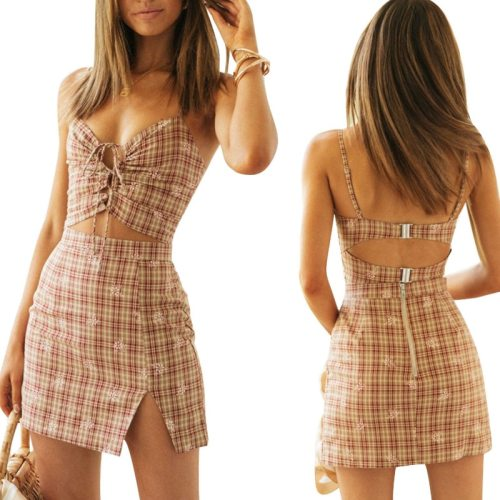 2 Pieces Suit Set Summer 2021 Female Plaid Sleeveless Spaghetti Strap Backless Crop Tops+ Package Hip Skirt Club Wear