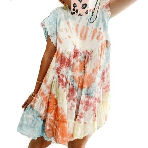 Womens Ladies Short Sleeve Summer Pullover Tops Tie-Dye Printed Casual Dress New