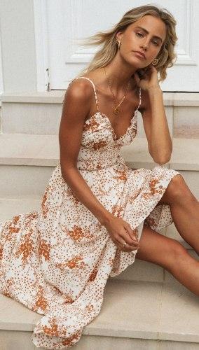 Women's Spaghetti Strap Long Dress 2021 Summer V Neck Ruffle Vestidos Ladies Sexy Holiday Streetwear Sundress Midi Dress