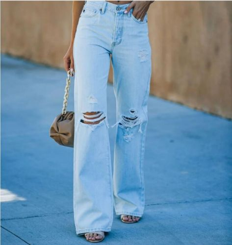High Waist Hole Ripped Straight Mom Jeans Women Casual Streetwear 90s Baggy Wide Leg Boyfriend Pants Hollow Denim Trousers