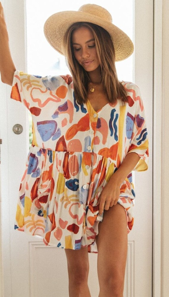 Women'S Printed Pocket Button Stitching Dress Dresses For Women Party  Women Clothing  Women Dress  Dresses