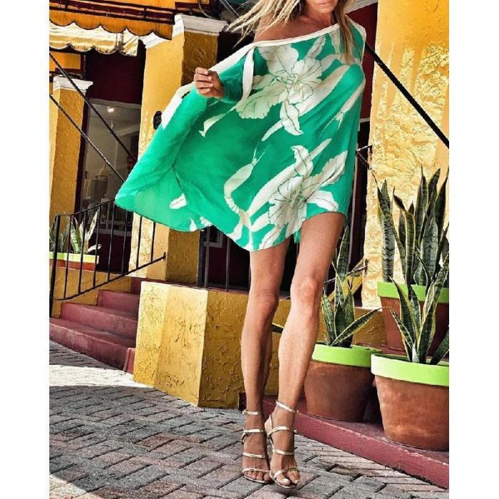 Sexy One Shoulder Loose Blouses Women 2021 New Summer Digital Printing Anti-Sack Blouse Chiffon Shirt Ladies Beachwear Smock
