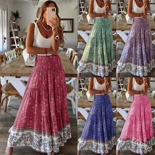 Bohemian Women Summer Skirt Casual Shrinkage Elastic High Waist Print Holiday Long Skirt Vintage Floral A-line Maxi Skirt Female