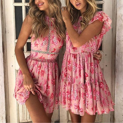 Pink Floral Print Mini Dress Summer New Arrival Sleeveless O Neck Hollow Out Lace A-Line Tank Dresses Sexy Female Vestidos 2021