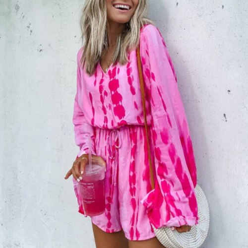 2021 Autumn Spring Casual New Tie-dye Baggy V Neck Long Sleeve Lace-Up Women Playsuit Jumpsuit Bright Pink Shorts Beach Rompers