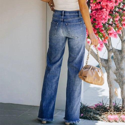 Woman Casual Jeans Mid-waist Straight Denim Clothing Blue Streetwear Vintage 2021 Fashion Harajuku Tassel Button Pants #TG