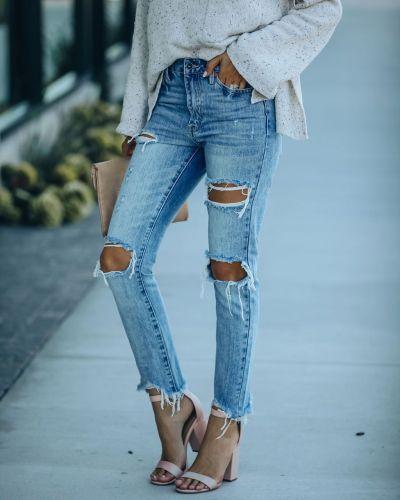 Cross-border 2021 new European and American slimmed-down jeans trousers women's wear
