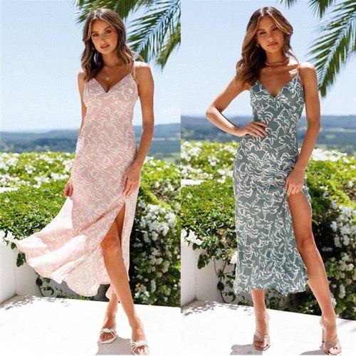 2021 Summer Sexy Sling Split Printed Long Dress