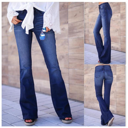 Spring And Autumn Fashion Streetwear Women Speaker Jeans Mid Waist  Solid Color Street Style Casual Retro Cotton New Denim Pants
