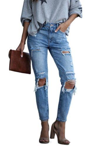 New Summer Street Hipster Skinny Denim Pants Slim Hole Women's Jeans Women Distressed Jeans  Streetwear Vintage Jeans High Waist