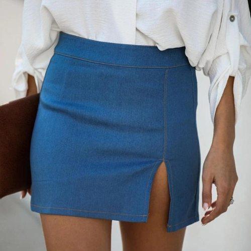 A-Line Bodycon Sheath Women Skirt Summer 2021 High Waist Short Zipper Skirt Split Solid Color Office Working Casual Lady Clothes