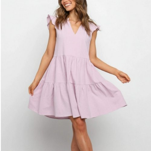 Solid Sleeveless Loose Woman's Dress Fashion 2021 Summer New V-neck Dresses for Women Sexy A-line Casual Woman Dress