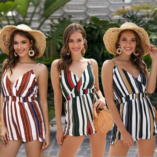 2021 Summer New Women's Wear Hot Stripe Irregular Sexy Suspender Jumpsuit