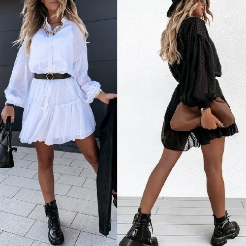 2021 Spring Casual Elegant Women's Lace Puff Sleeve Dress Fashion Solid Color White Hollow Loose A-Line Ruffle Stitching Dress
