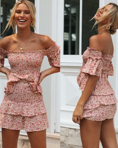 Sexy sleeveless strap dress 2 pieces set Casual print ruffle summer dress women Beach fitness sundress vestidos