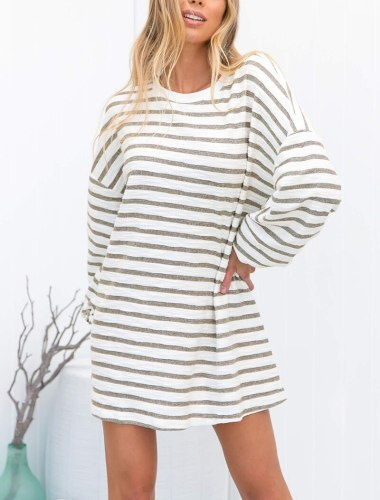 Vintage Striped Women Dress Casual Loose O-Neck Long Sleeve Spring Autumn Lady Dresses