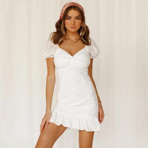 Sexy V-neck Party Dress Women Elegant Hollow Out Lace Mini Dress Summer Ruffles Short Sleeve Bodycon Dress Vestidos