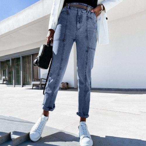 Jeans Women Solid Color Vintage Button High Waist Pocket Elastic Hole Jeans Trousers Slim Denim Pants Denim Shorts Jean Women