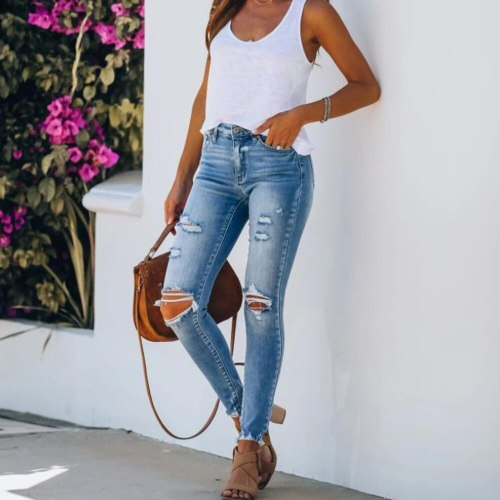 New Mid Waist Skinny Jeans Women Vintage Distressed Denim Pants Holes Destroyed Pencil Pants Casual Trousers Summer Ripped Jeans