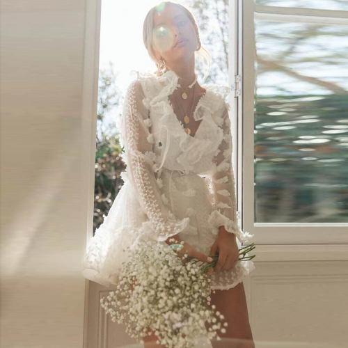 Vintage Sexy White Lace Short Dress Women Long Sleeve Dresses Floral Flower Female Luxury Party Mini Dress Vestidos