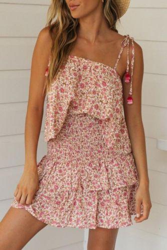 Sexy ruffle print short bodycon dress Summer women 2 pieces set dress Off shoulder casual beach female dresses