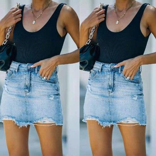Ripped Tassel Trend Hem 2021 Summer Simplicity Casual Skorts Women Temperament Women's Denim Bag Hip Skirt Wash Water Skirt