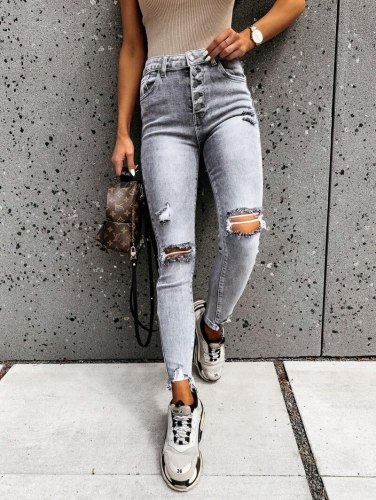 Stylish Gray Skinny Jeans Women Streetwear High Waist Ripped Holes Pencil Jeans Stretchable Female Jeans Summer Women Pants