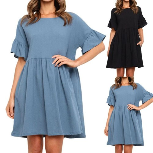 Solid Dress Women Summer Short Sleeve Mini Dress Ladies Beach Sundress Holiday Casual Loose Dresses Women Clothing 2021