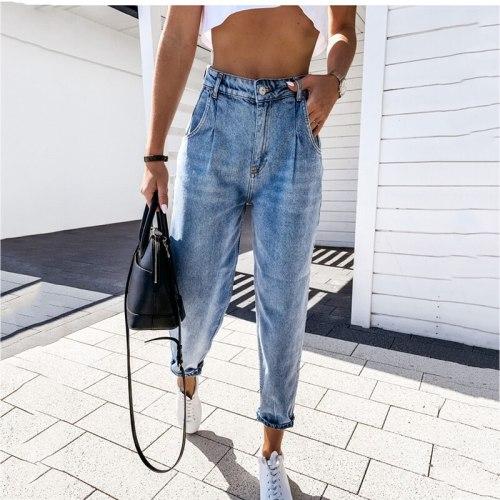 New High Waist Jeans Women Pocket Trouser 2021 Autumn Streetwear Fashion Ladies Casual Blue Denim Joggers Harem Pants Jeans Woman