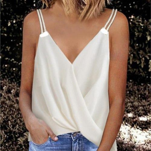 New Summer Women Sexy Solid V Neck Sling Sleeveless Vest Elegant Sweet Tshirt Ladies Casual Pullover Tank Tops