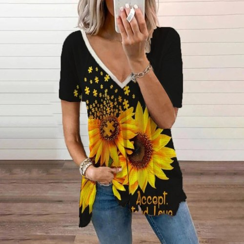Sexy V-neck Loose Blouse Women's Sunflower Printed Short Sleeve V-neck Fold Casual Blouse Ladies Summer Casual Tee Tops