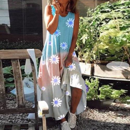 Summer Chic Daisy Print Tie-Dye Loose Midi Dress Women Elegant V-Neck Tank Dresses Lady Casual Sleeveless Beach Dress Vestidos