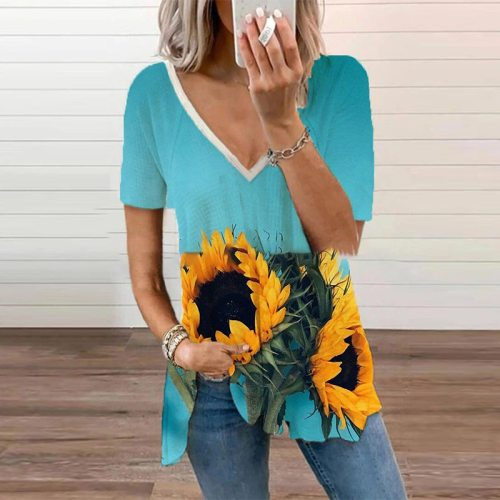 Summer V-neck Short-sleeved Sunflower Print T-shirt Loose Casual Fashion Women's Clothing  Summer Plus Size