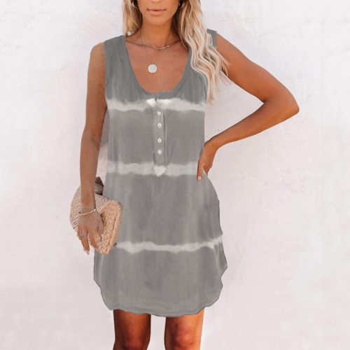Womens Korean Dress Vintage Tank Tie-dye O-neck Summer Casual Sleeveless Loose Tee With Button Dresses For Women Casual