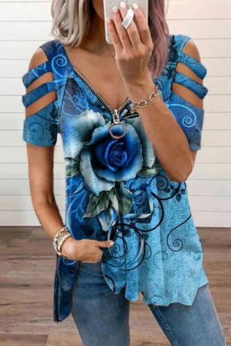 Loose Casual Printing Rose Printing T-shirt Top Summer Women's Short-sleeved V-neck Top Fashion Trend T-shirt Shirt Plus Size