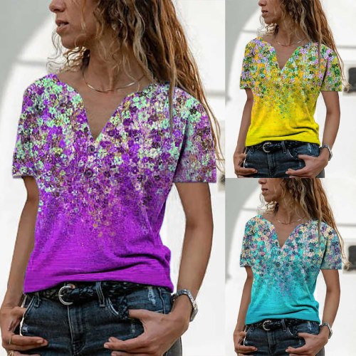 Plus Size Tops Women Loose V-neck Tunic Flowers Print Casual Shirts Summer Short Sleeve Blouse Women Blouses