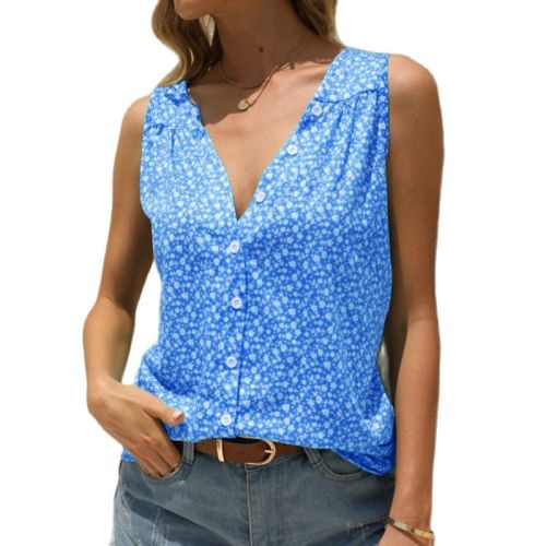 Plus Size Summer New Arrival Ladies Hot Sale Sleeveless Printed Tank Top Fashion Casual V-Neck Splice Loose Button Shirt Female