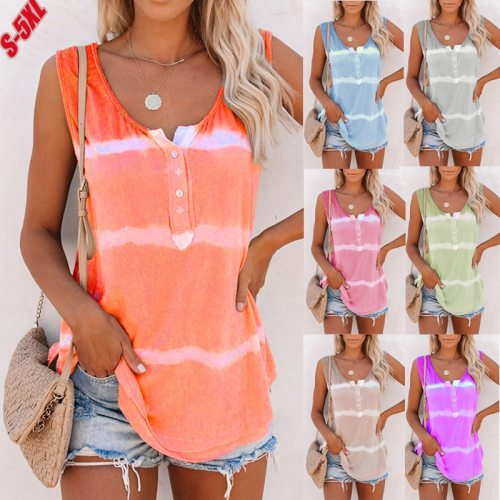 Summer Women Button Gradient Tops 2021 Casual Sleeveless O-Neck  Tshirts Fashion Street Lady Tie Dye Print Large Sizes RED Tees