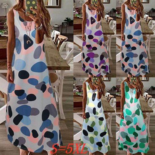 Fashion Ladies Long Dress Polka Dot Printed Sleeveless Large Size Dress Casual Loose Beach Dress Summer Ladies Dress Robe Femme