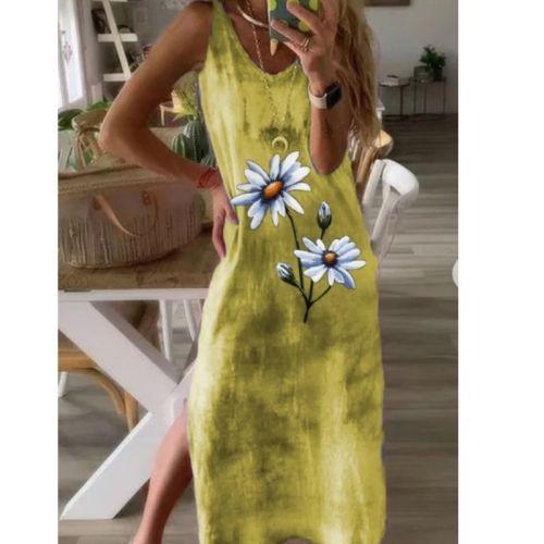 Tie Dye Flower Vest Dress For Women Vintage Sleeveless Long Dress