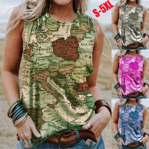 Summer New Fashion Women's Round Neck Plus Size Pullover Sleeveless Map Printed Vest Casual Top Women Clothing Female Tee Shirt